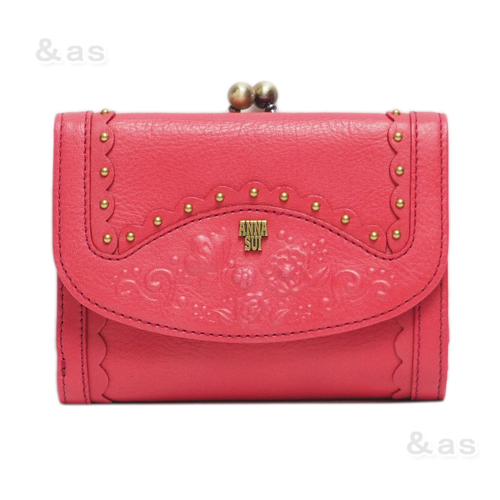 【アウトレット品】 アナスイ ガマポケット付き革コンパクト財布 ピンク系 ANNA SUI