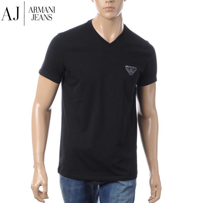 アルマーニジーンズ ARMANI JEANS VネックTシャツ メンズ 3Y6T06 6J1FZ ブラック