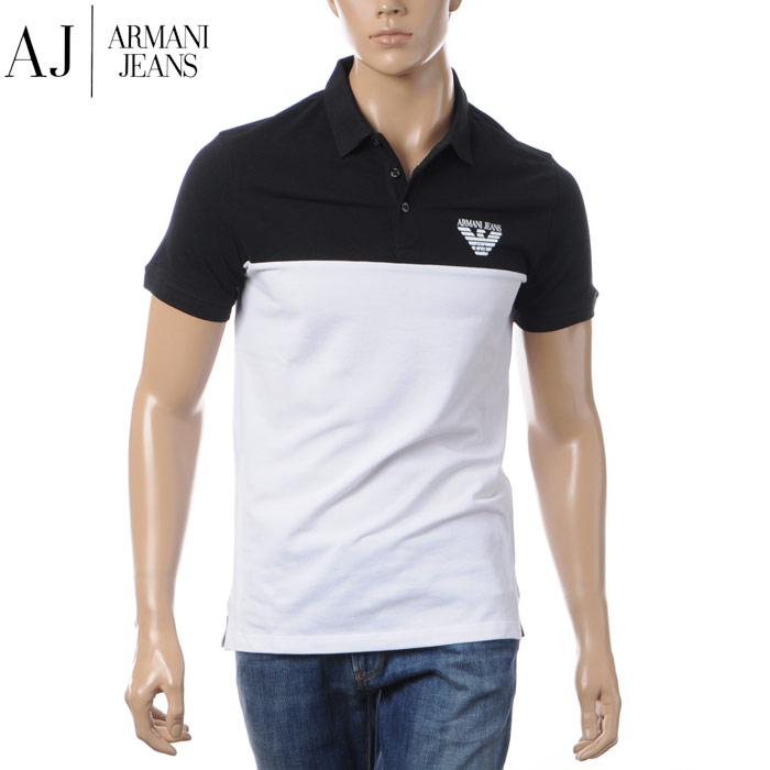 アルマーニジーンズ ARMANI JEANS ポロシャツ メンズ 3Y6F07 6J0SZ ブラック×ホワイト