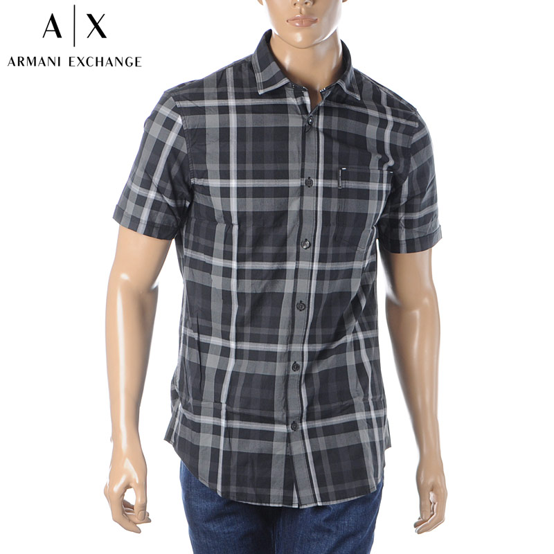 アルマーニエクスチェンジ A|X ARMANI EXCHANGE カジュアルシャツ 半袖 メンズ 3HZC05 ZNCKZ ブラック 2020春夏新作