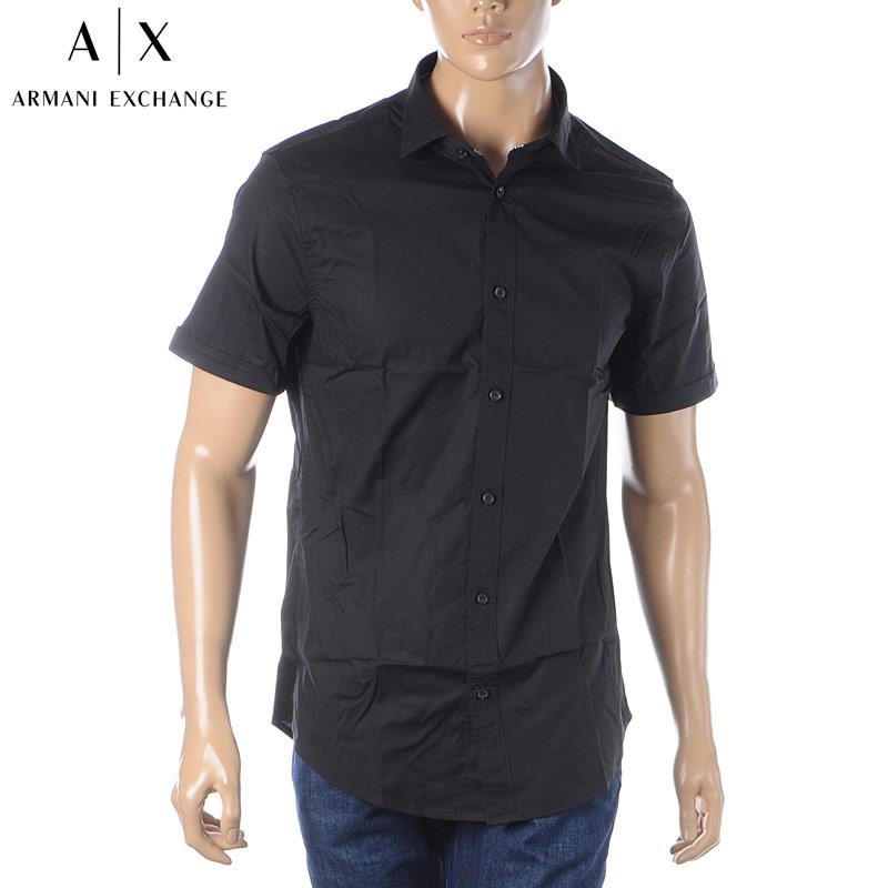 アルマーニエクスチェンジ A|X ARMANI EXCHANGE カジュアルシャツ 半袖 メンズ 3HZC07 ZNEAZ ブラック 2020春夏新作