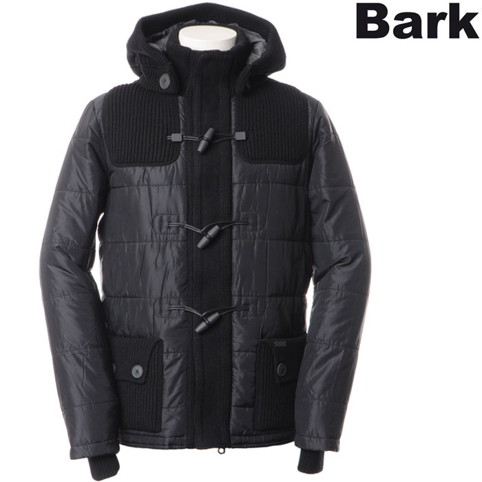 Bark バーク メンズニット切替ナイロンダッフルコート/ブラック/52B8112