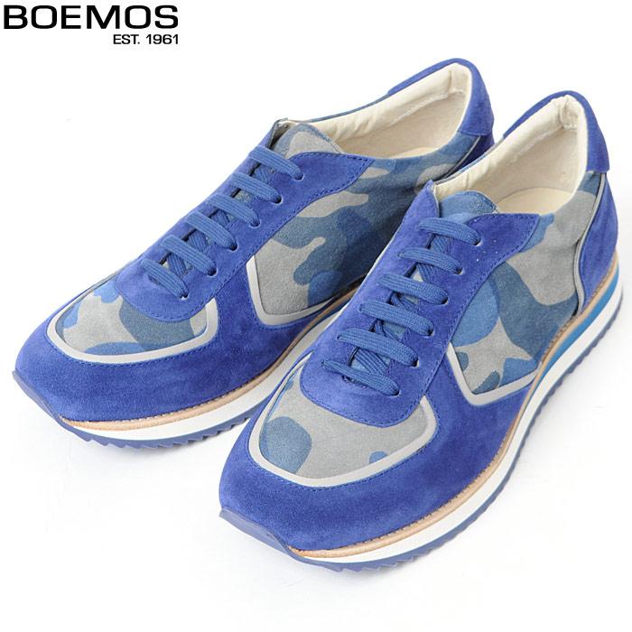 ボエモス BOEMOS レザースニーカー ローカット メンズ E6-4524 ブルーカモフラ