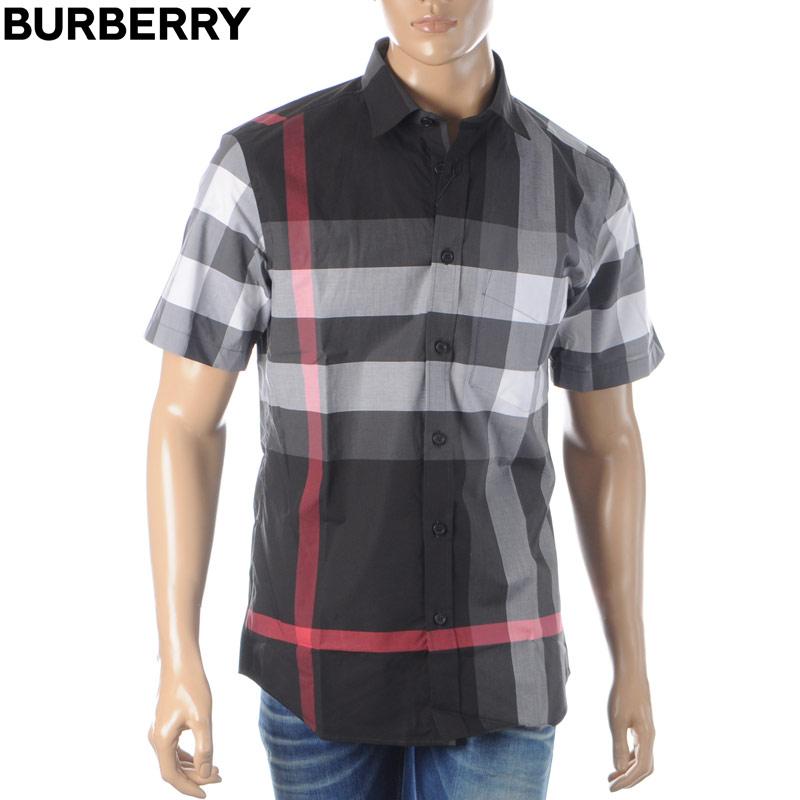 バーバリー BURBERRY コットンポプリンシャツ メンズ 半袖 8025607 ブラック 2020春夏新作