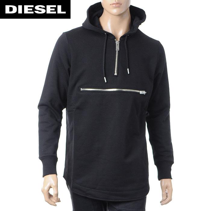 ディーゼル DIESEL メンズハーフジップパーカー S-NEFHERDER ブラック 00SRF8-0PAKJ