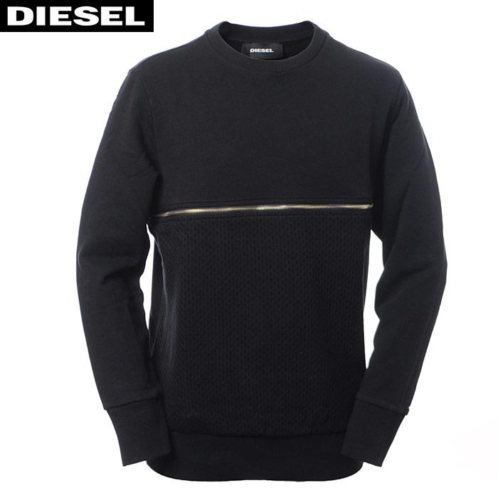 ディーゼル DIESEL クルーネックスウェット トレーナー メンズ S-DRY 00SVIP-0QANX ブラック
