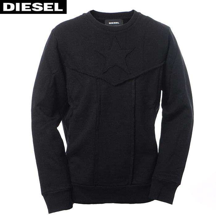 ディーゼル DIESEL クルーネックスウェット トレーナー メンズ S-CAPITAN 00SVB5 0EAOL ブラック