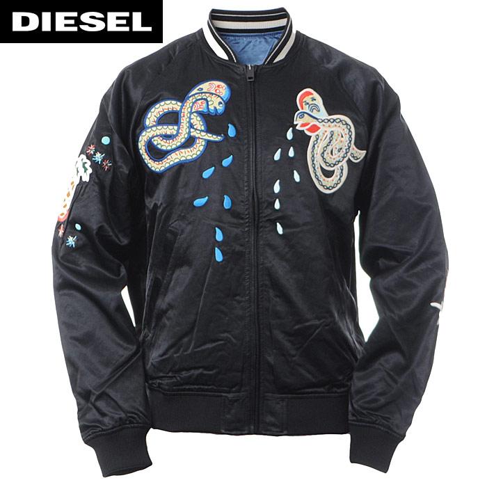 ディーゼル DIESEL ボンバージャケット スカジャン ブルゾン メンズ J-ROCKET 00SZDF-0EAPS ブラック