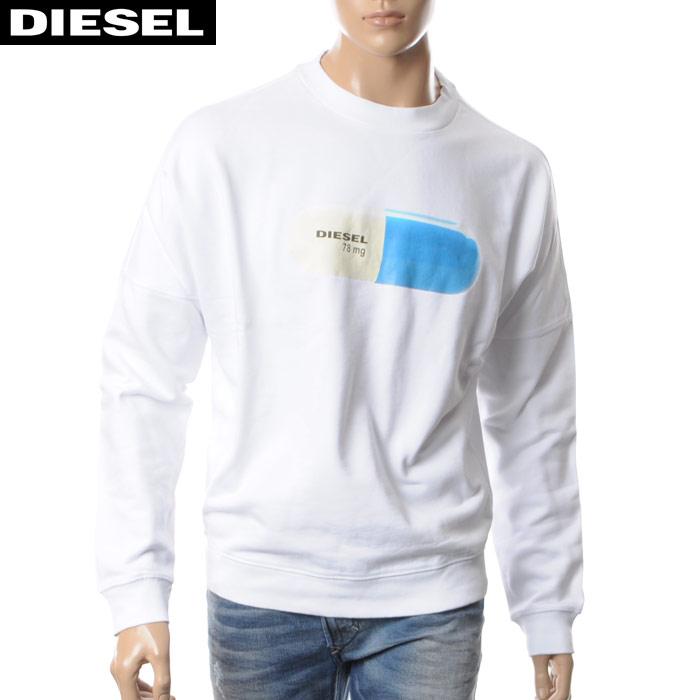 ディーゼル DIESEL クルーネックスウェット トレーナー メンズ S-KALB-QA 00S04L-0QAQN ホワイト 2017秋冬セール