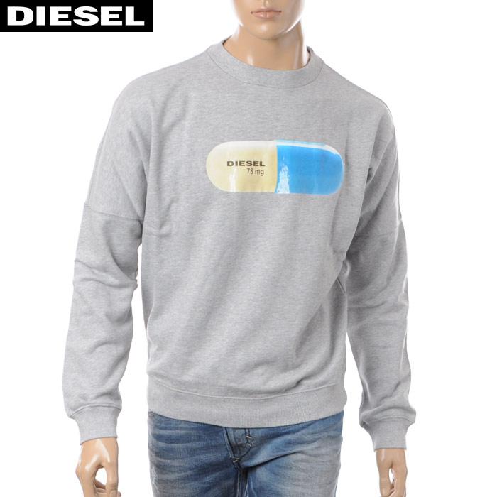 ディーゼル DIESEL クルーネックスウェット トレーナー メンズ S-KALB-QA 00S04L-0QAQN グレー