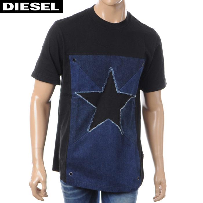 ディーゼル DIESEL クルーネックTシャツ 半袖 メンズ T-DEN-STAR 00SA6X-0GARL ブラック