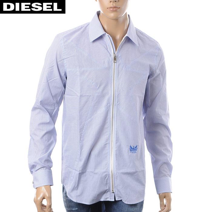 ディーゼル DIESEL ジップアップシャツ 長袖 メンズ S-PARRIS 00S85K-0AARQ ホワイト×ブルーストライプ