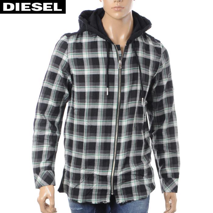 ディーゼル DIESEL タータンチェックシャツ 長袖 メンズ S-ECHO-FL 00S8SQ-0SASE ブラック×グリーン 2018春夏セール