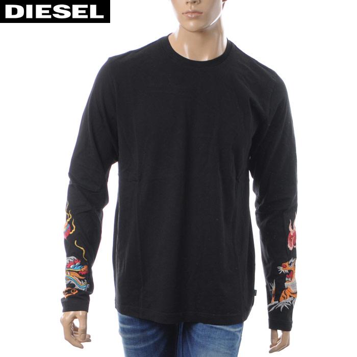 ディーゼル DIESEL クルーネックTシャツ 長袖 メンズ T-RONNY-LONG 00SH14-0KASI ブラック 2018秋冬新作