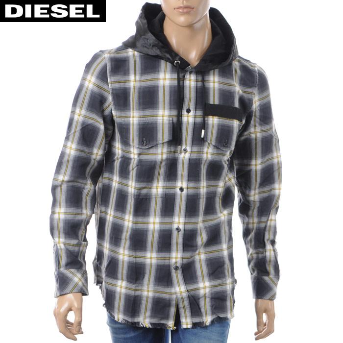 ディーゼル DIESEL タータンチェックシャツ 長袖 メンズ S-SMITH 00SH0Y-0CATB ブラック 2018秋冬新作