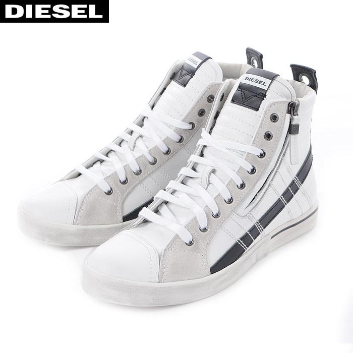 ディーゼル DIESEL レザースニーカー ハイカット メンズ D-VELOWS-MID Y01759 P1738 ホワイト 2018秋冬新作