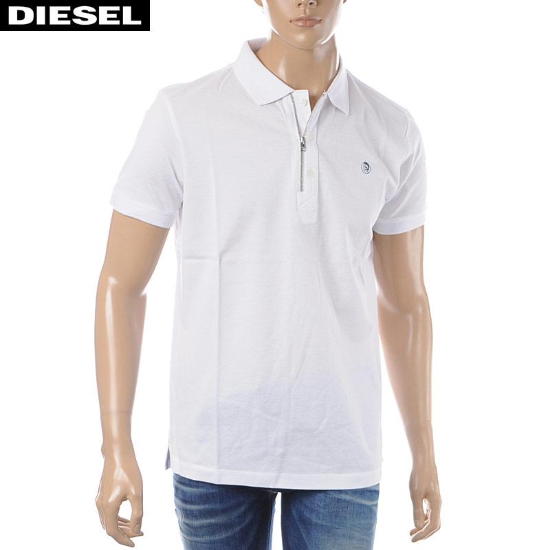 ディーゼル DIESEL ポロシャツ 半袖 メンズ T-HART 00SJ6N-0CATI ホワイト