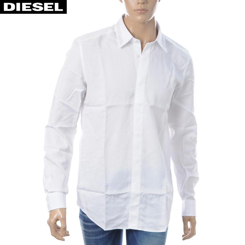 ディーゼル DIESEL カジュアルシャツ 長袖 メンズ S-TUDS 00SNUX-0QAVM ホワイト