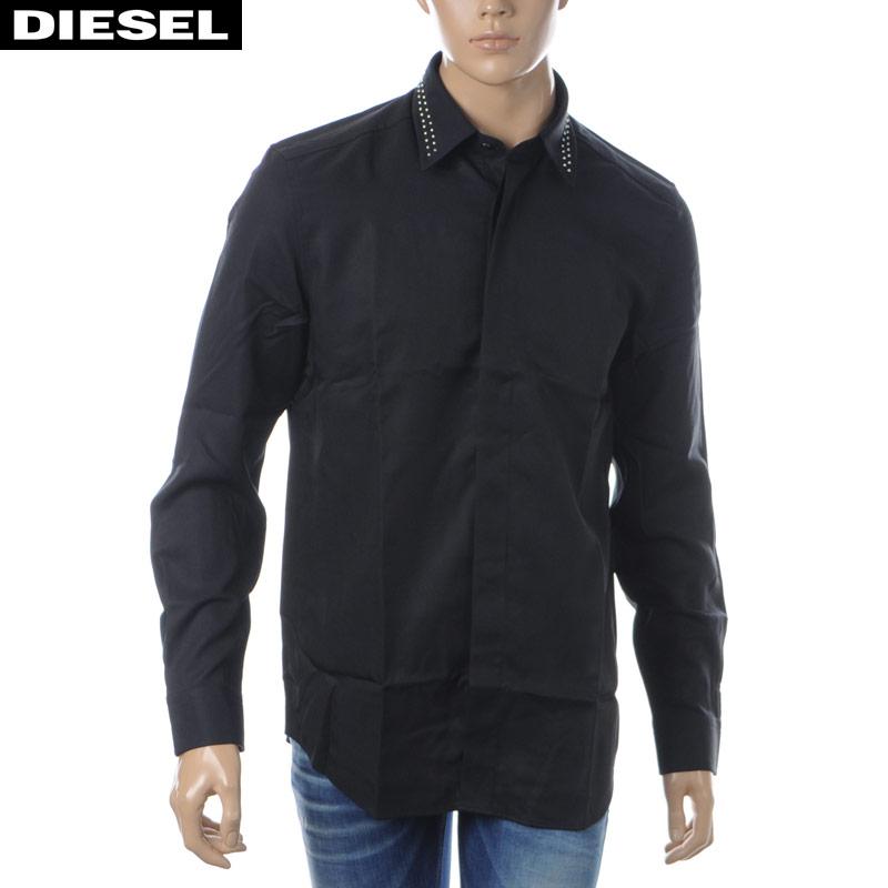 ディーゼル DIESEL カジュアルシャツ 長袖 メンズ S-TUDS 00SNUX-0QAVM ブラック