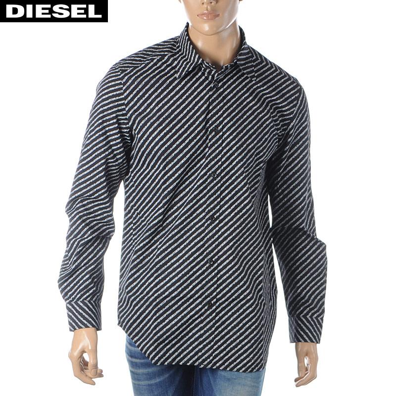 ディーゼル DIESEL プリントシャツ メンズ 長袖 S-PENN-COPY 00S96F-0PAYJ ブラック 2020春夏新作