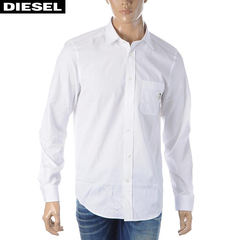 ディーゼル DIESEL ポプリンシャツ メンズ 長袖 S-BILL-POCKET 00SAV6-0AAYH ホワイト 2020春夏新作