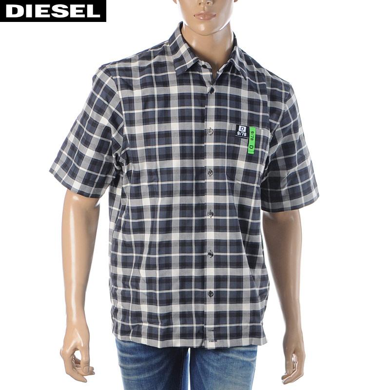 ディーゼル DIESEL チェックシャツ メンズ 半袖 S-ATWOOD-A 00SGNA-0WAWY ブラック 2020春夏新作