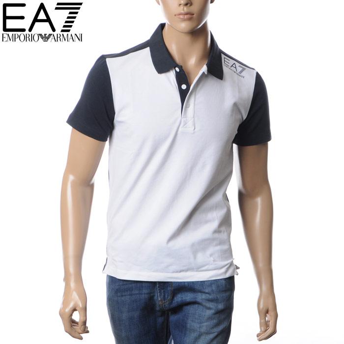 エンポリオアルマーニ EA7 EMPORIO ARMANI ポロシャツ メンズ 3YPF69 PJ20Z ホワイト×ネイビー