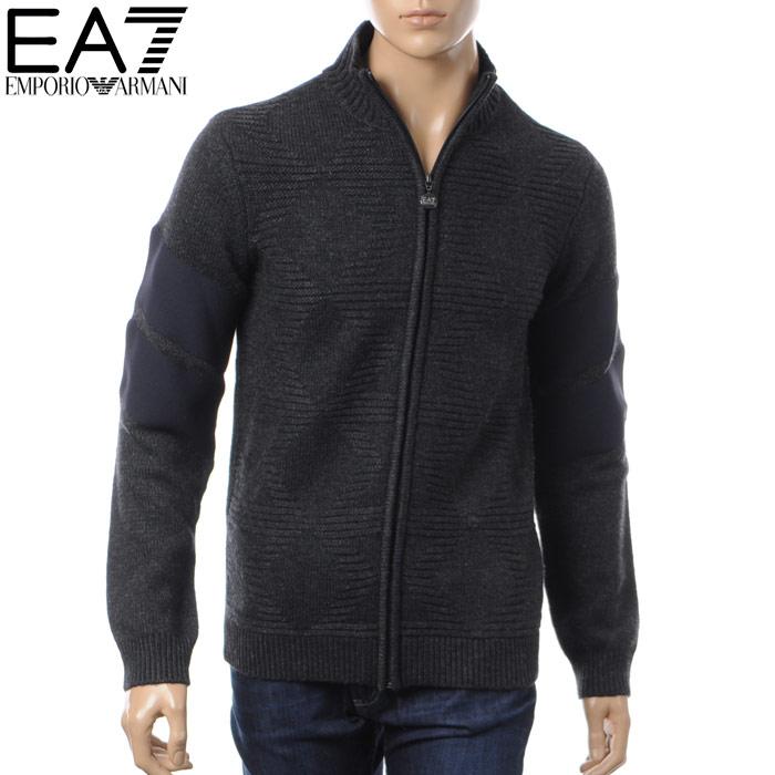 エンポリオアルマーニ EMPORIO ARMANI EA7 ジップアップニット メンズ セーター 6YPBZ2 PM02Z チャコールグレー 2017秋冬セール