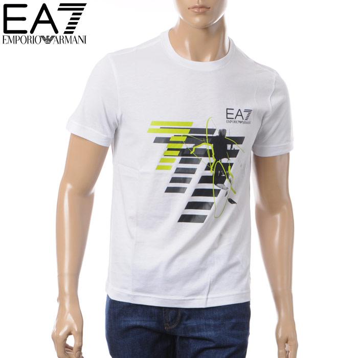 エンポリオアルマーニ EA7 EMPORIO ARMANI クルーネックTシャツ 半袖 メンズ 3ZPT48 PJM9Z ホワイト