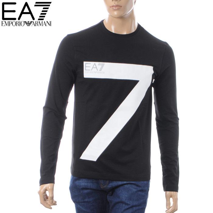 エンポリオアルマーニ EMPORIO ARMANI EA7 クルーネックTシャツ 長袖 メンズ 6ZPT32 PJ18Z ブラック 2018秋冬新作