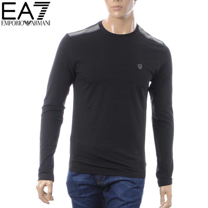 エンポリオアルマーニ EMPORIO ARMANI EA7 クルーネックTシャツ 長袖 メンズ 6ZPT92 PJP6Z ブラック 2018秋冬新作