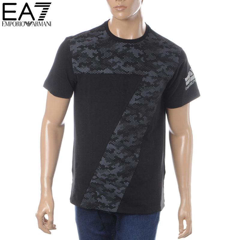 エンポリオアルマーニ EMPORIO ARMANI EA7 クルーネックTシャツ 半袖 メンズ 3GPT29 PJ04Z ブラック