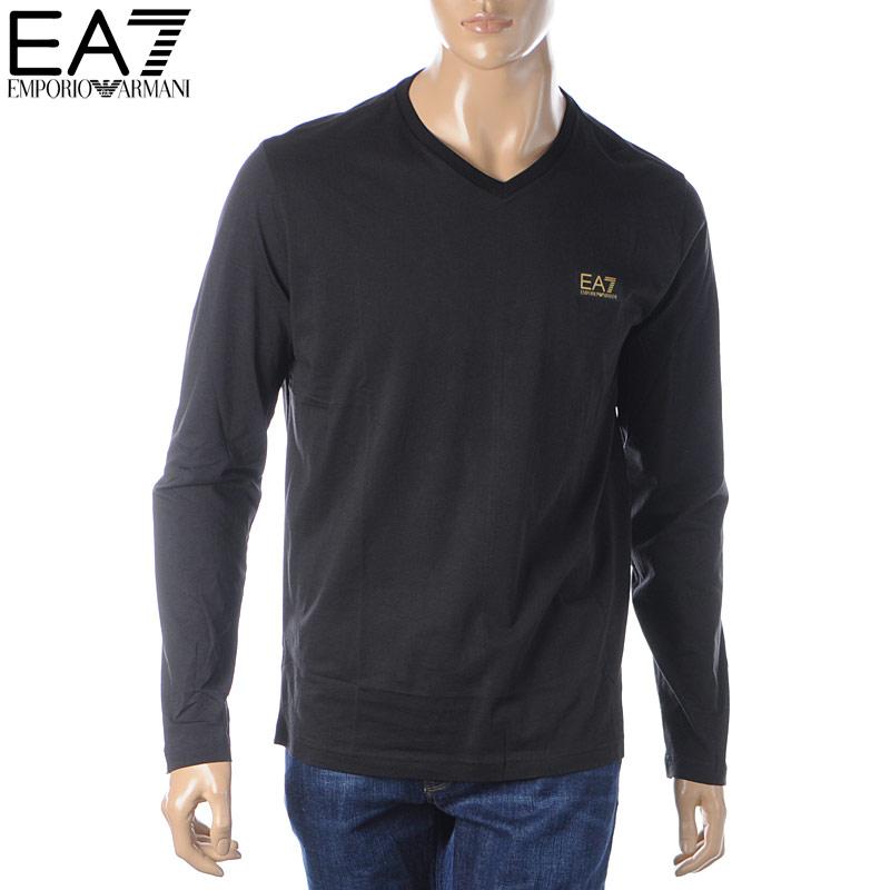 エンポリオアルマーニ EA7 EMPORIO ARMANI VネックTシャツ 長袖 メンズ 6GPT06 PJM9Z ブラック 2019秋冬新作