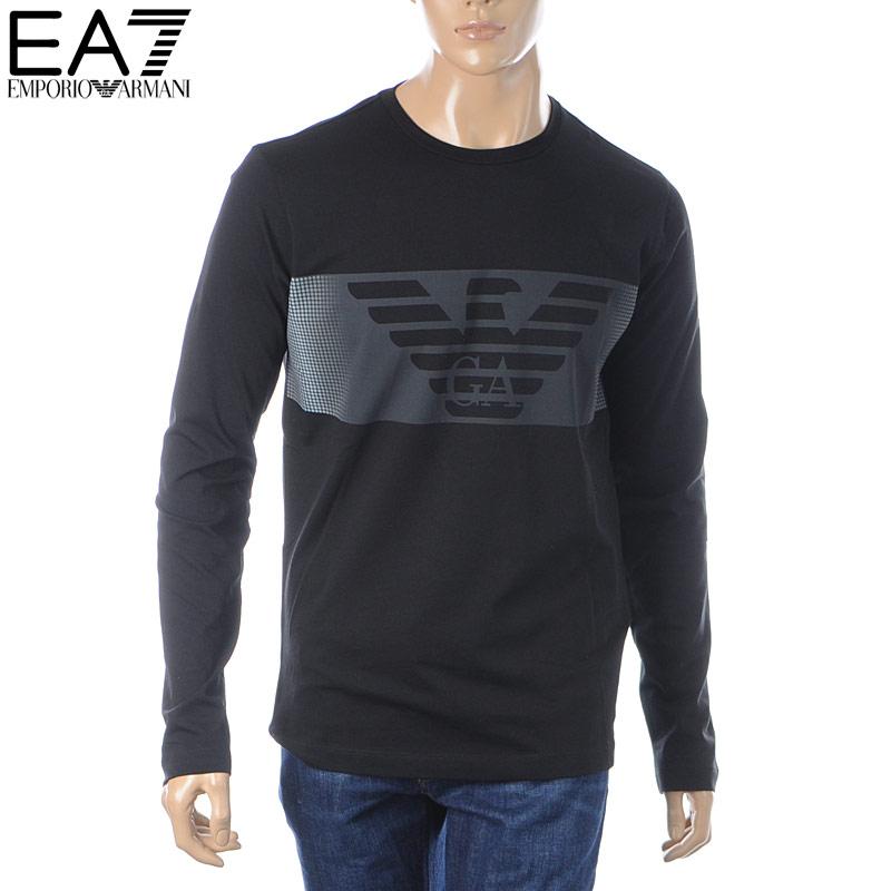 エンポリオアルマーニ EA7 EMPORIO ARMANI クルーネックTシャツ 長袖 メンズ 6GPT59 PJQ9Z ブラック 2019秋冬新作