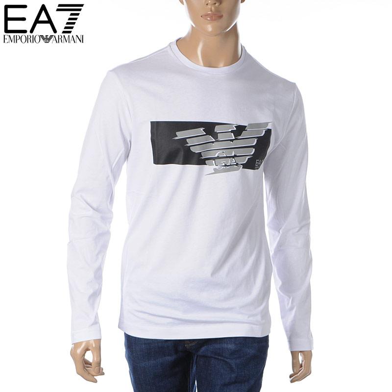 エンポリオアルマーニ EA7 EMPORIO ARMANI クルーネックTシャツ 長袖 メンズ 3HPT50 PJT3Z ホワイト 2020春夏新作