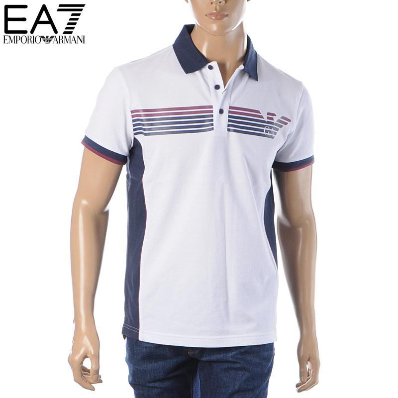 エンポリオアルマーニ EMPORIO ARMANI EA7 ポロシャツ 半袖 メンズ 3HPF13 PJ61Z ホワイト 2020春夏新作