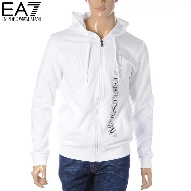 エンポリオアルマーニ EA7 EMPORIO ARMANI ジップアップパーカー スウェット メンズ 3HPM26 PJ05Z ホワイト 2020春夏新作