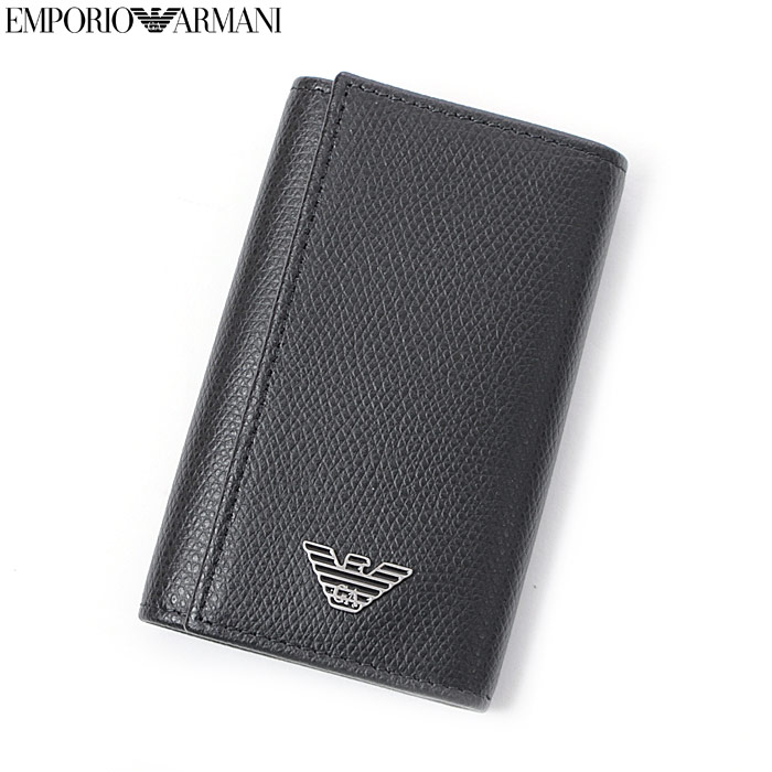 エンポリオアルマーニ EMPORIO ARMANI レザーキーケース YEMG68 YAQ2E ブラック