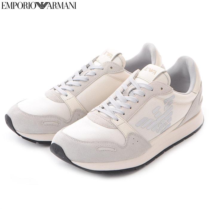 エンポリオアルマーニ EMPORIO ARMANI レザースニーカー ローカット メンズ X4X215 XL198 ホワイト