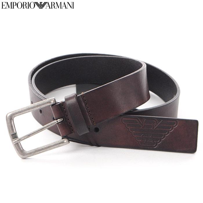 エンポリオアルマーニ EMPORIO ARMANI レザーベルト メンズ Y4S217 YCM4G ダークブラウン