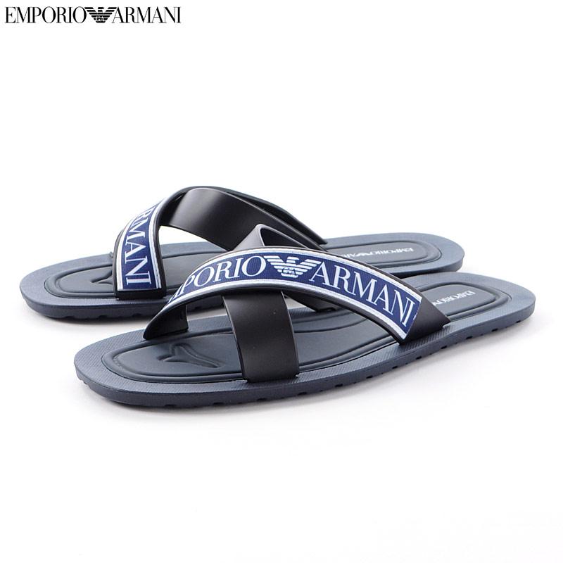 エンポリオアルマーニ EMPORIO ARMANI クロスサンダル メンズ X4P079 XL293 ブラック