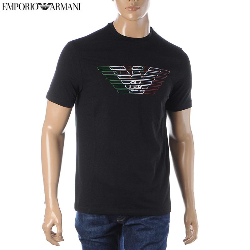 エンポリオアルマーニ EMPORIO ARMANI クルーネックTシャツ 半袖 メンズ 3H1T71 1J11Z ブラック 2020春夏新作