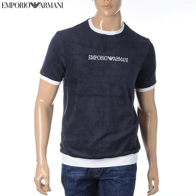 エンポリオアルマーニ EMPORIO ARMANI クルーネックTシャツ 半袖 メンズ 3H1T94 1JEUZ ネイビー 2020春夏新作
