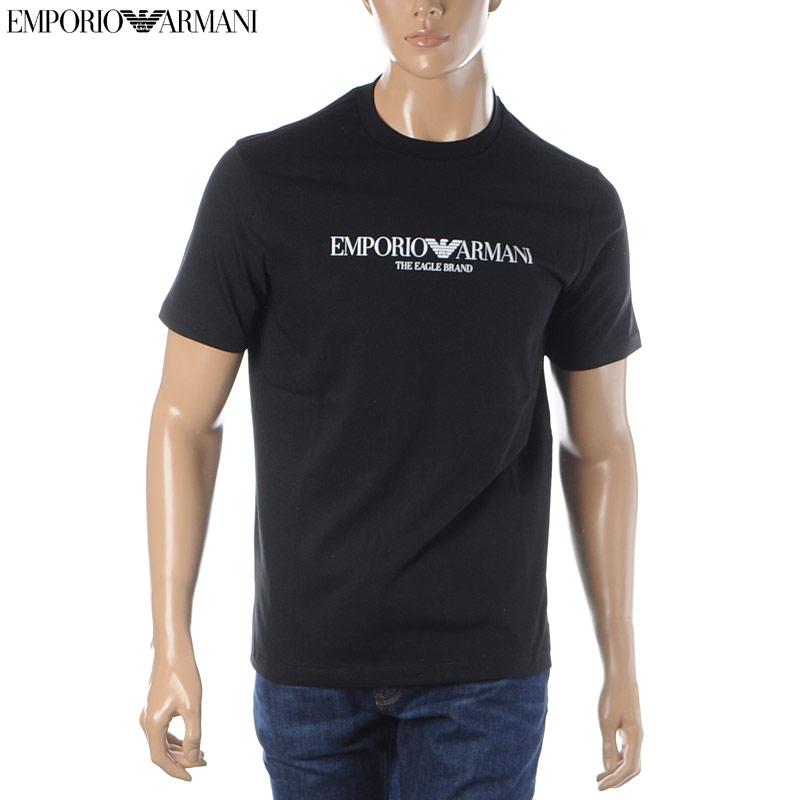 エンポリオアルマーニ EMPORIO ARMANI クルーネックTシャツ 半袖 メンズ 8N1T61 1J00Z ブラック 2020春夏新作