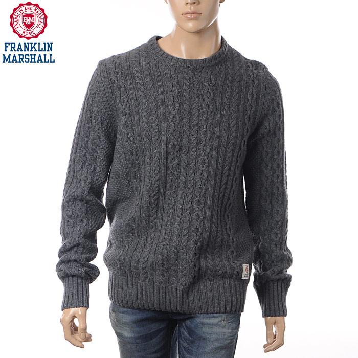 フランクリンマーシャル FRANKLIN&MARSHALL クルーネックニット メンズ セーター KNMAL049AM グレー