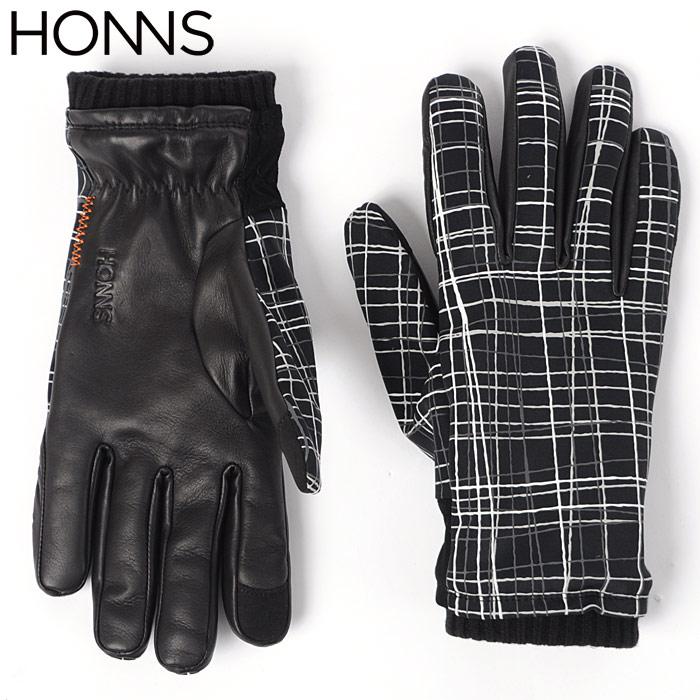ホンズ HONNS 手袋 グローブ LOGAN GRID スマホ対応 ブラック MS320GRD メンズ