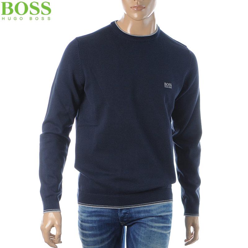 ヒューゴボス HUGO BOSS クルーネックニット セーター メンズ 50409595 217998 ネイビー