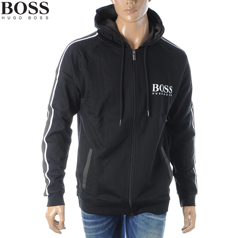 ヒューゴボス HUGO BOSS ジップアップパーカー スウェット メンズ 50424806 10208539 ブラック 2020春夏新作