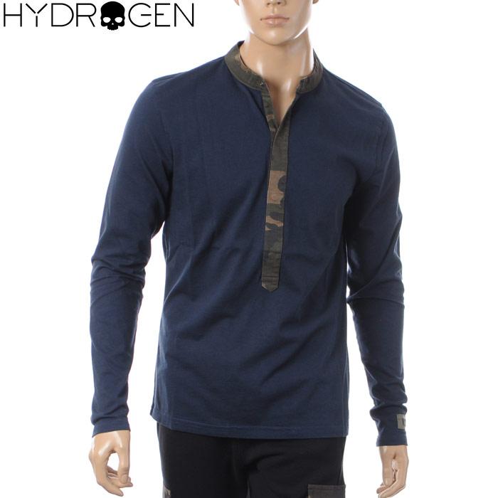 ハイドロゲン HYDROGEN ヘンリーネックTシャツ 長袖 メンズ 215110 ネイビー