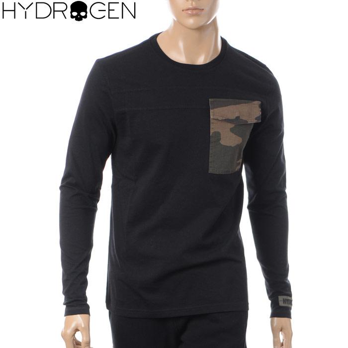 ハイドロゲン HYDROGEN クルーネックTシャツ 長袖 メンズ 215106 ブラック